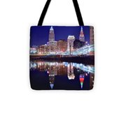 Cuyahoga Reflecting The City Above Tote Bag