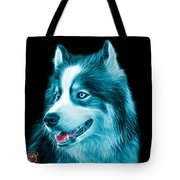 Cyan Modern Siberian Husky Dog Art - 6024 - Bb Tote Bag
