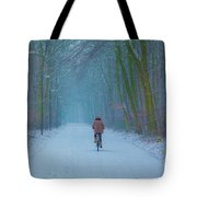 Cycling In The Snow Tote Bag