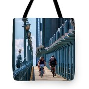 Cycling The Bridge Tote Bag