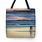 Cyclist Pedals Against The Wind At Pismo Beach Tote Bag