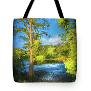 Cypress Tree By The River Tote Bag