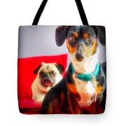 Dachshund Dog, Pug Dog, Good Time On Bed Tote Bag