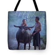 Dad And Child Happy To Live In The Countryside,thailand, Vietnam Tote Bag