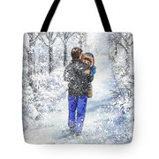 Dad And Child In The Winter Snow Tote Bag