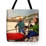 Dad And Denny In A Winter Field Tote Bag