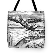 Daedalus Escaping From Crete With His Son, Icarus, Sees Him Falling To His Death Tote Bag