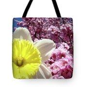 Daffodil Flower Art Prints Pink Tree Blossoms Blue Sky Baslee Tote Bag