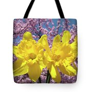 Daffodil Flowers Spring Pink Tree Blossoms Art Prints Baslee Troutman Tote Bag