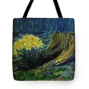 Daffodils And Tree Stump Tote Bag