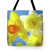Daffodils Art Print Floral Sky Bouquet Daffodil Flower Baslee Tote Bag