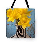 Daffodils In Wide Striped Vase Tote Bag