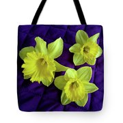 Daffodils On A Purple Quilt Tote Bag