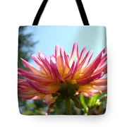 Dahlia Floral Garden Art Prints Canvas Summer Blue Sky Baslee Troutman Tote Bag