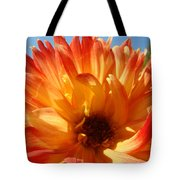 Dahlia Floral Orange Yellow Flower Botanical Art Prints Canvas Baslee Troutman Tote Bag