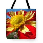 Dahlia Flower Art Prints Canvas Red Yellow Dahlias Baslee Troutman Tote Bag