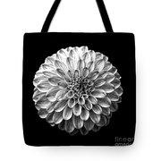 Dahlia  Flower Black And White Square Tote Bag
