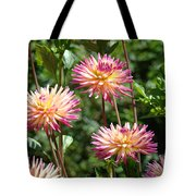 Dahlia Garden Floral Pink Yellow Botanical Landscape Baslee Troutman Tote Bag