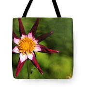 Dahlia Red White And Green Tote Bag