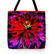 Dahlia Rouge Texture Avec La Frontiere  Tote Bag
