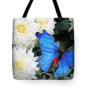 Dahlias And The Butterfly Tote Bag