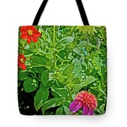 Dahlias By A Fence In Golden Gate Park In San Francisco, California  Tote Bag