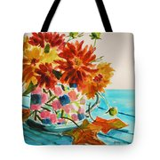 Dahlias In A Painted Cup Tote Bag