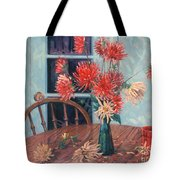 Dahlias With Red Cup Tote Bag