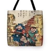 Daikoku Ebisu And Fukurokuju Counting Money Tote Bag