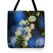 Dainty Wildflowers On Blue Bokeh By Kaye Menner Tote Bag