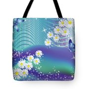 Daisies And Butterflies On Blue Background Tote Bag