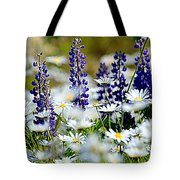 Daisies And Lupine Tote Bag