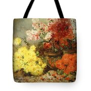 Daisies, Begonia, And Other Flowers In Pots Tote Bag
