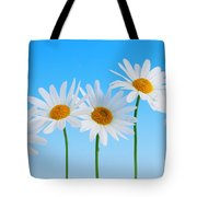 Daisy Flowers On Blue Tote Bag