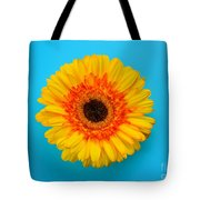 Daisy - Yellow - Orange On Light Blue Tote Bag