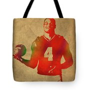 Dak Prescott Nfl Dallas Cowboys Quarterback Watercolor Portrait Tote Bag