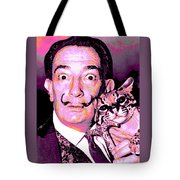 Dali With Ocelot And Cane Tote Bag
