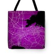 Dalian Street Map - Dalian China Road Map Art On A Purple Backgro Tote Bag