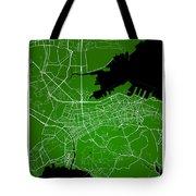 Dalian Street Map - Dalian China Road Map Art On Green Backgro Tote Bag