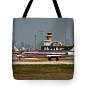 Dallas Airport And Skyline Tote Bag