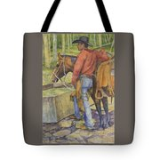 dallas and Rosco at the Holding Pasture Tank Tote Bag