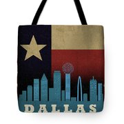 Dallas City Skyline State Flag Of Texas Art Poster Series 020 Tote Bag