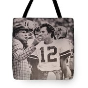 aeaae5b5d Dallas Cowboys Head Coach Tom Landry And  12 Quarterback Roger Staubach  Tote Bag