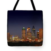 Dallas Skyline At Dusk Big Moon Night  Tote Bag