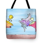 Dance Party Monsters Watercolor Tote Bag