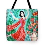 Dancer In Red Sari Tote Bag