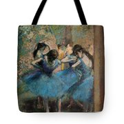 Dancers In Blue Tote Bag by Edgar Degas