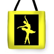 Dancing Ballerina White Silhouette Tote Bag