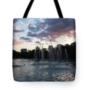 Dancing Jets And Music Sunset - Plovdiv Singing Fountains Tote Bag