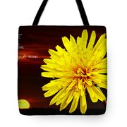 Dandelion Against Sunset With Inspirational Text Tote Bag